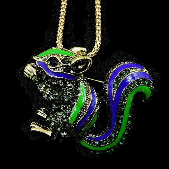 Jewelry Rhinestone Purple Enamel Frog Pendant Necklace Silver Tone Long Chain